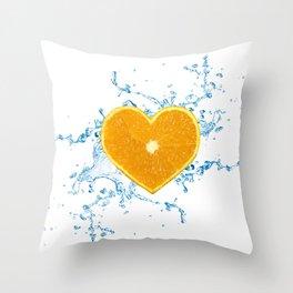 Slice of Heart Shaped Orange Throw Pillow