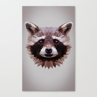 raccoon Canvas Prints featuring Raccoon by Roxy Color