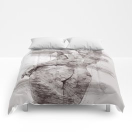 Nude woman pencil drawing Comforters