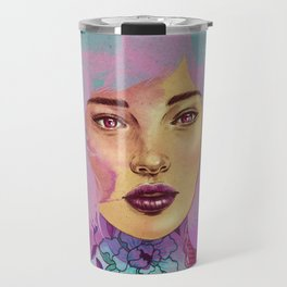"""Illustration of woman with blue hair and pink ink. digital painting """"pink ink"""" Travel Mug"""
