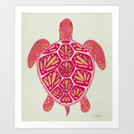 Sea Turtle – Pink & Gold Art Print