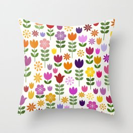 Scandinavian Style Colorful Flowers Pattern Throw Pillow