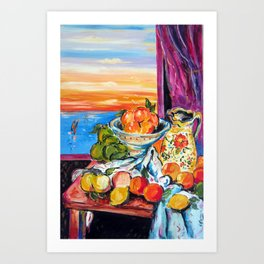 Still life homage to Cezanne Art Print