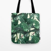 banana leaf Tote Bags featuring Banana Leaf Pattern 2 by Tamsin Lucie