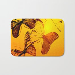 Fly fly butterfly! - Butterflies on a orange background with sunlight #society6 #buyart Bath Mat