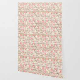 Pink and Cream Roses Pattern Wallpaper
