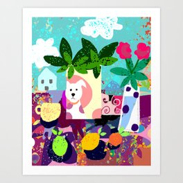 Collage with Dog Vase Art Print