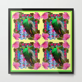 PINK ROSES & GREEN PEACOCK YELLOW GARDEN FLORAL ABSTRACT Metal Print