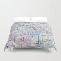 kansas city Duvet Covers featuring Kansas city map by MapMapMaps.Watercolors