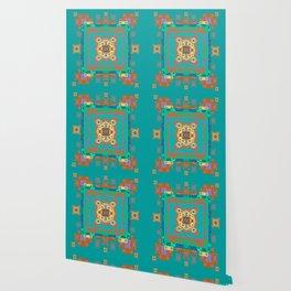 Turquoise Persian Rug Deconstruction Mandala Wallpaper