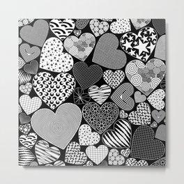 Love Hearts Doodle Art Pattern Metal Print