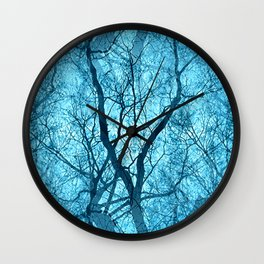 Looking Through Glass Trees (ice blue) Wall Clock