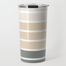 Neutral beige and gray colors stripes Travel Mug