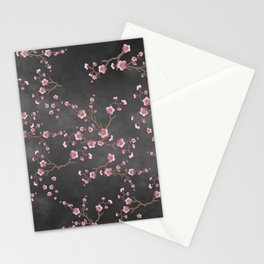 SAKURA LOVE - GRUNGE BLACK Stationery Cards