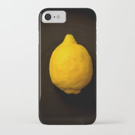 Yellow Lemon On A Black Background #decor #society6 iPhone Case
