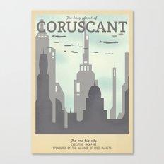 Retro Travel Poster Series - Star Wars - Coruscant Canvas Print