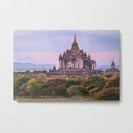 Buddhist Temple Rises Above the Fields of Bagan Fine Art Print Metal Print