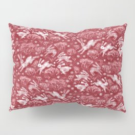 Hares Field, Jumping Rabbits Winter Holidays Pattern, Red White Pillow Sham
