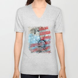 Lady Liberty Stars and Stripes Patriotic Artwork Unisex V-Neck