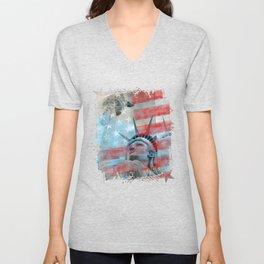 Lady Liberty Stars and Stripes Patriotic Artwork Unisex V-Neck