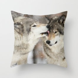 Wolf Kisses Throw Pillow