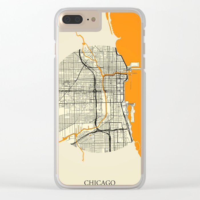 Chicago Map Moon Clear iPhone Case