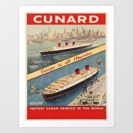 Vintage poster - Cunard Art Print