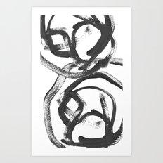 Interlock black and white paint swirls Art Print
