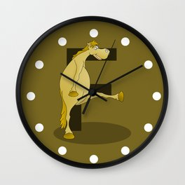 Pony Monogram Letter F Wall Clock