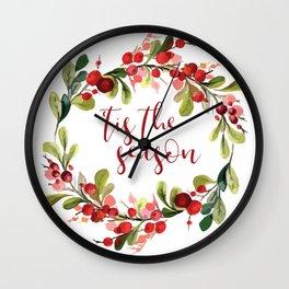'TIS THE SEASON #christmas #society6 Wall Clock
