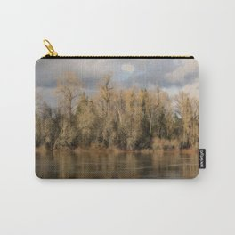 WINTER TREES IN THE SUNSHINE - REFLECTED IN THE WILLAMETTE RIVER - OREGON Carry-All Pouch
