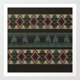 southwest stripe with horses Art Print