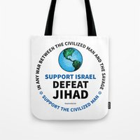 israel Tote Bags featuring Support Israel, Defeat Jihad by politics