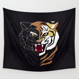 Graphic image of a growling tiger Wall Tapestry