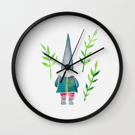 Summer Gnome - Green Leaves Wall Clock