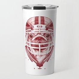American Pug Football Red Travel Mug