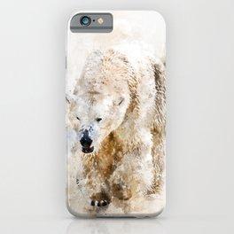 Abstract watercolor polar bear iPhone Case