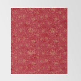Golden Roses on Red Throw Blanket