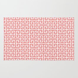 Coral and White Greek Key Pattern Rug