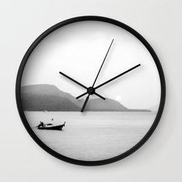 Abstract Sunset | Black and White Fishing Boat Gray Foggy  Island Lake Landscape Photograph Wall Clock