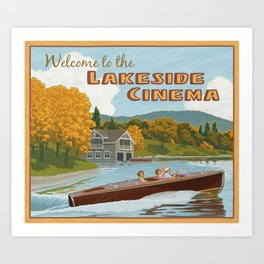 Lakeside Cinema Art Print