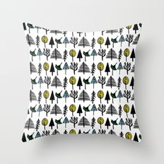 Hand drawn tree pattern Throw Pillow