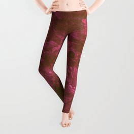 Butterfly and leaves in a red storm Leggings
