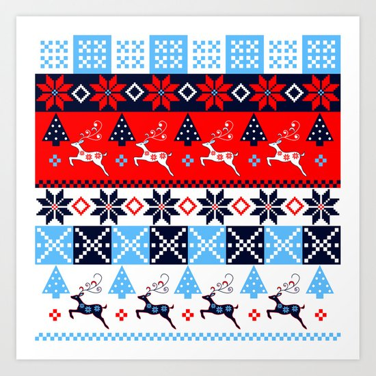 Scandinavian holidays pattern design Art Print