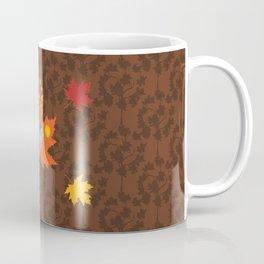 Grey Squirrel Autumn Pattern Coffee Mug