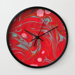 Red Marbled Wall Clock