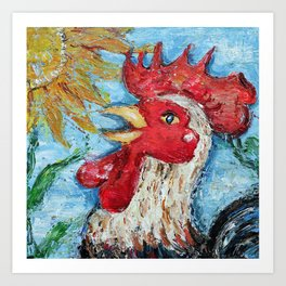 Happy Cheery Red Rooster Art Print