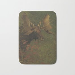 Vintage Painting of a Bull Moose Bath Mat