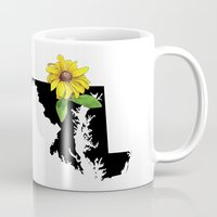 maryland Mugs featuring Maryland Silhouette and Flower by Ursula Rodgers