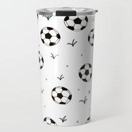 Fun grass and soccer ball sports illustration pattern Travel Mug
